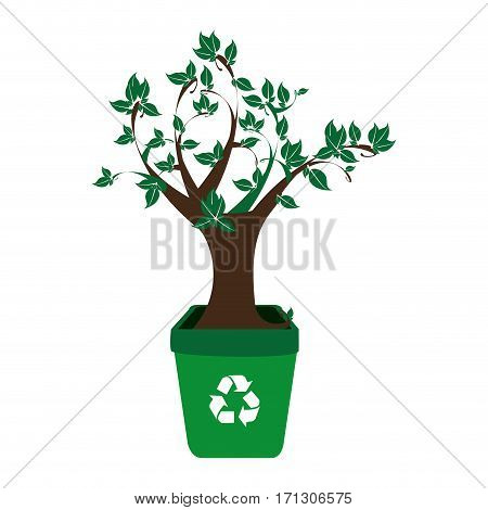 colorful recycling container with leafy tree plant vector illustration
