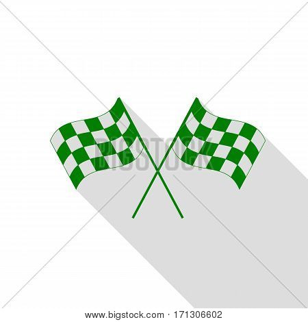 Crossed checkered flags logo waving in the wind conceptual of motor sport. Green icon with flat style shadow path.