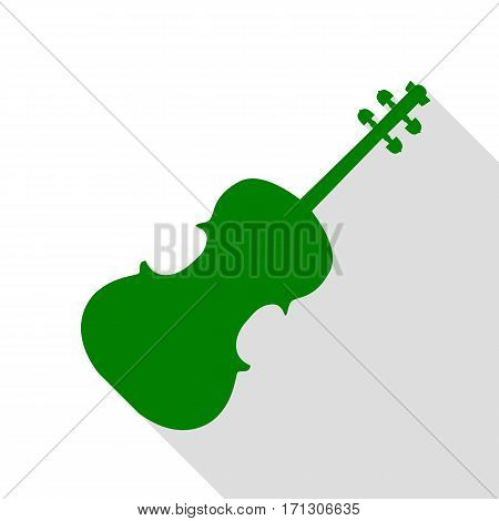 Violine sign illustration. Green icon with flat style shadow path.