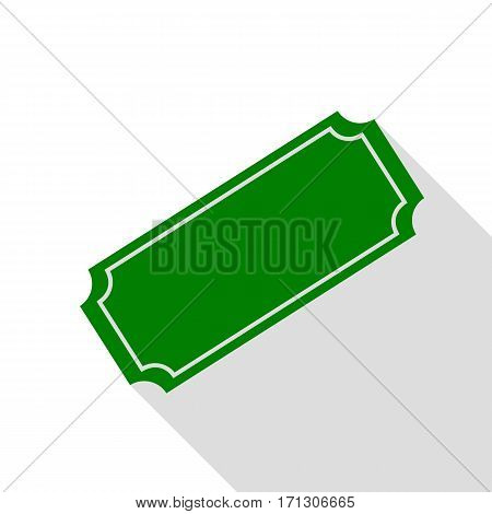 Ticket sign illustration. Green icon with flat style shadow path.