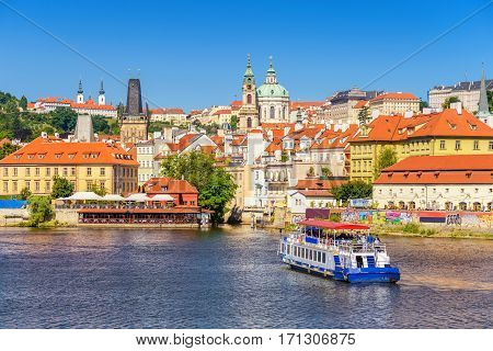 Prague City Skyline And Prague Castle, Prague, Czech Republic