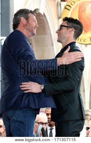 LOS ANGELES - FEB 10:  Blake Sheldon, Adam Levine at the Adam Levine Hollywood Walk of Fame Star Ceremony at Musicians Institute on February 10, 2017 in Los Angeles, CA