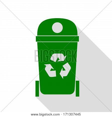 Trashcan sign illustration. Green icon with flat style shadow path.
