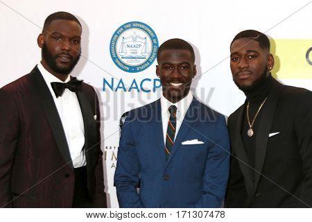 LOS ANGELES - FEB 11:  Kofi Siriboe, Kwesi Boakye, Kwame Boateng at the 48th NAACP Image Awards Arrivals at Pasadena Civic Auditorium on February 11, 2017 in Pasadena, CA