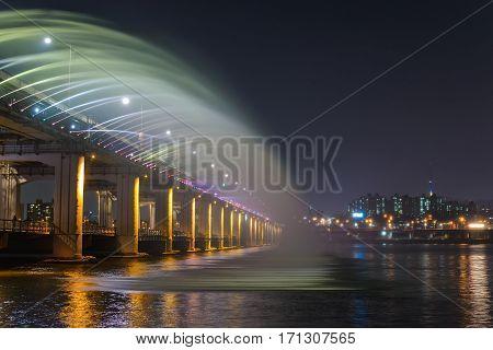 Seoul City Skyline And Fountain At Banpo Bridge, Seoul, South Korea