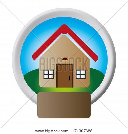 circular button with realistic house one floor inside and garden with plaque vector illustration