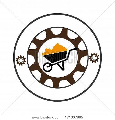 circular shape with gear with silhouette cartor truck for building vector illustration