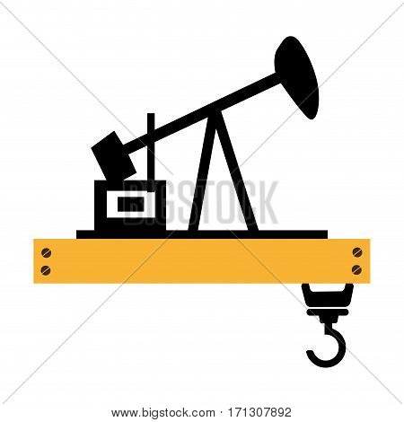 silhouette oil extraction machine with platform and crane vector illustration