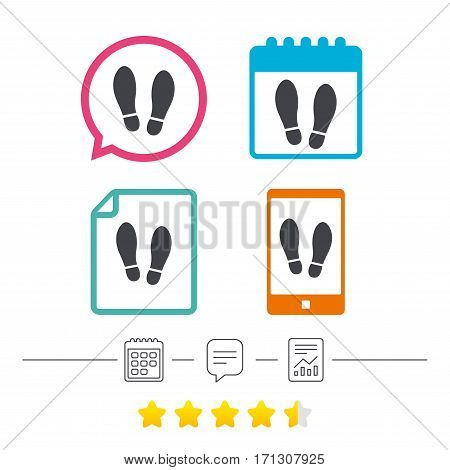 Imprint soles shoes sign icon. Shoe print symbol. Calendar, chat speech bubble and report linear icons. Star vote ranking. Vector