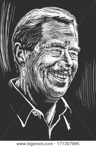 February 12, 2017:  Drawing of Vaclav Havel, the ex-president of the Czech Republic, the leader of  the Velvet Revolution  in Czechoslovakia in 1989, writer, philosopher. White engraving on dark grey.