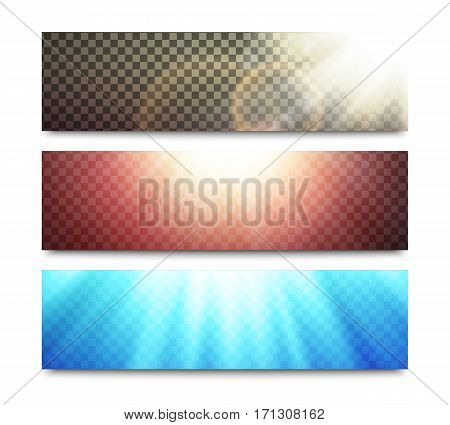 Vector light effects set on horizontal banners layouts with bright sun rays and transparent backgrounds.