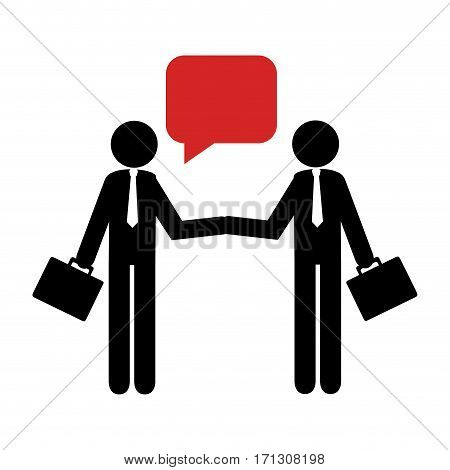 silhouette pictogram executive men and dialog callout box vector illustration