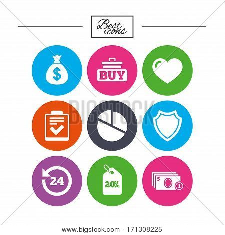 Online shopping, e-commerce and business icons. Checklist, like and pie chart signs. Money bag, discount and protection symbols. Classic simple flat icons. Vector
