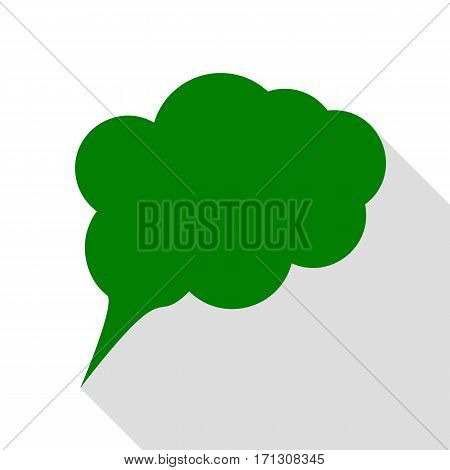 Speach bubble sign illustration. Green icon with flat style shadow path.