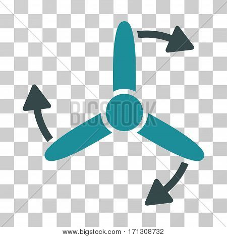 Three Bladed Screw Rotation icon. Vector illustration style is flat iconic bicolor symbol soft blue colors transparent background. Designed for web and software interfaces.