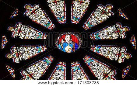 Auvers sur Oise France - august 14 2016 : rose window in the Notre Dame de l Assomption church