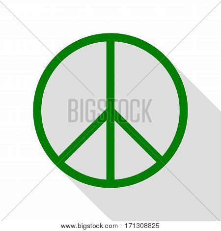 Peace sign illustration. Green icon with flat style shadow path.