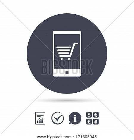 Smartphone with shopping cart sign icon. Online buying symbol. Report document, information and check tick icons. Currency exchange. Vector