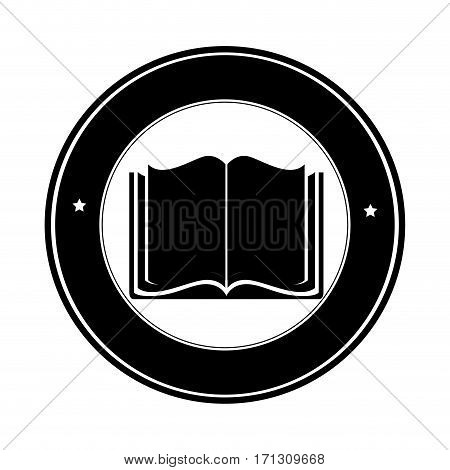 circular border with silhouette open book vector illustration