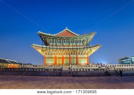 Gyeongbokgung Palace at night Seoul South Korea