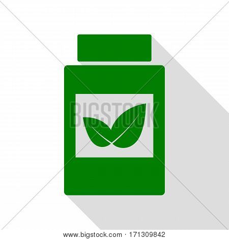 Supplements container sign. Green icon with flat style shadow path.