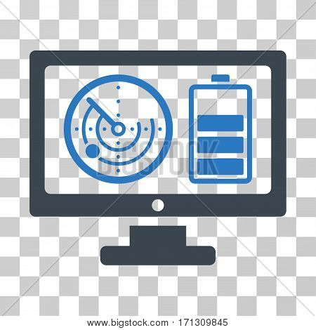Radar Battery Control Monitor icon. Vector illustration style is flat iconic bicolor symbol smooth blue colors transparent background. Designed for web and software interfaces.