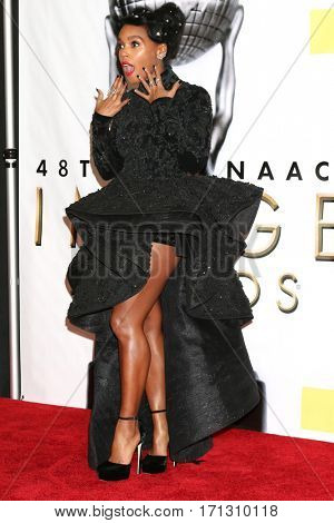LOS ANGELES - FEB 11:  Janelle Monae at the 48th NAACP Image Awards Press Room at Pasadena Conference Center on February 11, 2017 in Pasadena, CA