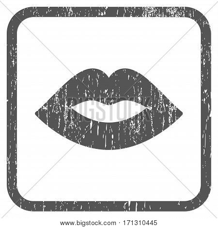 Lips rubber watermark. Vector icon symbol inside rounded rectangle with grunge design and dirty texture. Stamp seal illustration. Unclean gray ink sign on a white background.