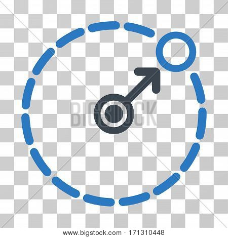 Round Area Border icon. Vector illustration style is flat iconic bicolor symbol smooth blue colors transparent background. Designed for web and software interfaces.