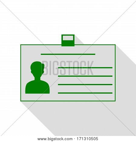 Identification card sign. Green icon with flat style shadow path.