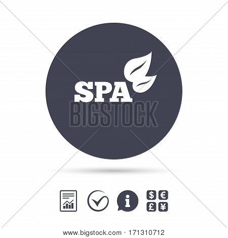 Spa sign icon. Spa leaves symbol. Report document, information and check tick icons. Currency exchange. Vector