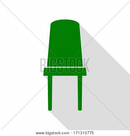 Office chair sign. Green icon with flat style shadow path.