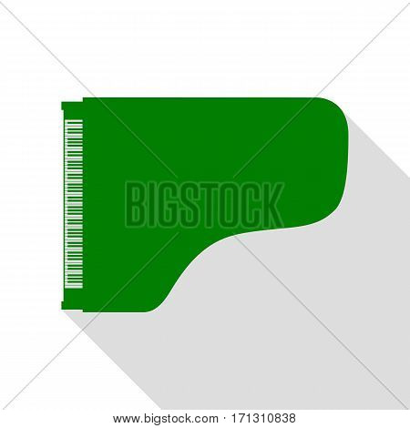 Concert grand piano sign. Green icon with flat style shadow path.