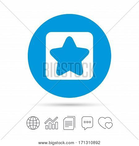 Star sign icon. Favorite button. Navigation symbol. Copy files, chat speech bubble and chart web icons. Vector