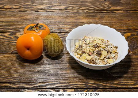 Ready Breakfast, Misl From Corn Flakes And Fruit.