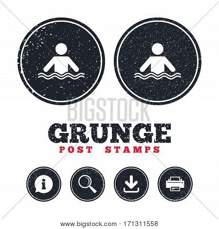 Grunge post stamps. Swimming sign icon. Pool swim symbol. Sea wave. Information, download and printer signs. Aged texture web buttons. Vector
