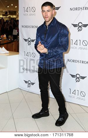 LOS ANGELES - FEB 11:  Nick Jonas at the Nick Jonas And Creative Recreation's 1410 Collection Launch at Nordstrom on February 11, 2017 in Los Angeles, CA
