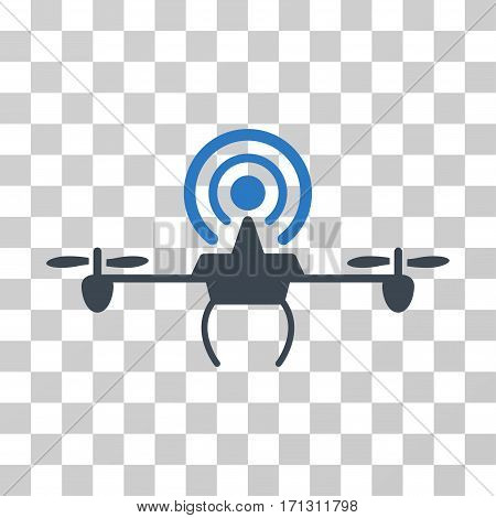 Wifi Repeater Drone icon. Vector illustration style is flat iconic bicolor symbol smooth blue colors transparent background. Designed for web and software interfaces.