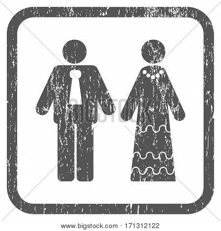 Newlyweds rubber watermark. Vector icon symbol inside rounded rectangular frame with grunge design and dust texture. Stamp seal illustration. Unclean gray ink sticker on a white background.