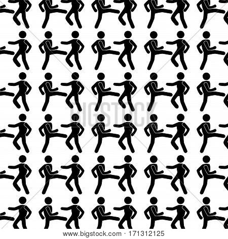 monochrome background with pattern men martial arts kick vector illustration