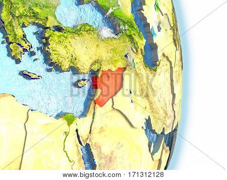 Syria In Red On Earth