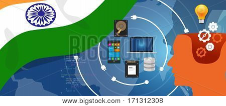 India IT information technology digital infrastructure connecting business data via internet network using computer software an electronic innovation vector