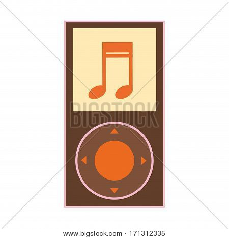 silhouette color with portable music device vector illustration