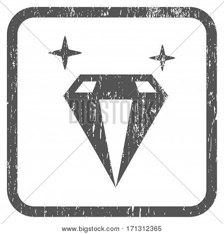 Sparkle Diamond Crystal rubber watermark. Vector icon symbol inside rounded rectangular frame with grunge design and scratched texture. Stamp seal illustration.