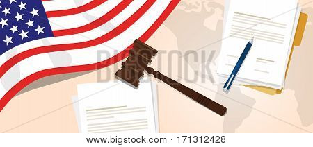 USA United States of America Indonesia law constitution legal judgement justice legislation trial concept using flag gavel paper and pen vector