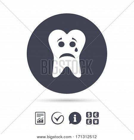 Tooth sad face with tear sign icon. Aching tooth symbol. Unhealthy teeth. Report document, information and check tick icons. Currency exchange. Vector