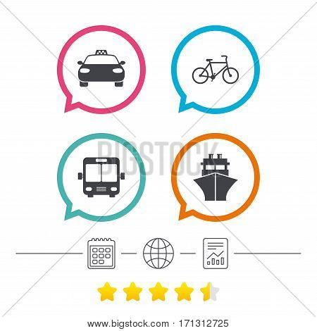 Transport icons. Taxi car, Bicycle, Public bus and Ship signs. Shipping delivery symbol. Family vehicle sign. Calendar, internet globe and report linear icons. Star vote ranking. Vector