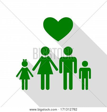 Family symbol with heart. Husband and wife are kept children's hands. Love. Green icon with flat style shadow path.