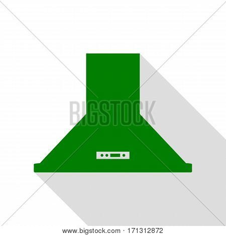 Exhaust hood. Kitchen ventilation sign. Green icon with flat style shadow path.