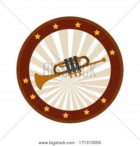 color circular frame with trumpet vector illustration